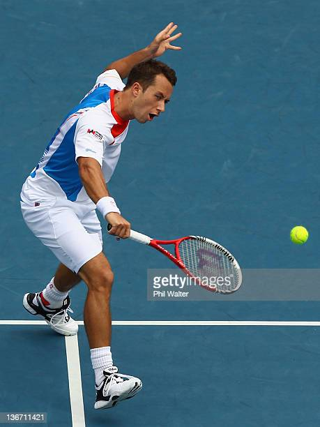 Philipp Kohlschreiber of Germany plays a shot during his match against Ryan Harrison of the USA on day three of the 2012 Heineken Open at the ASB...