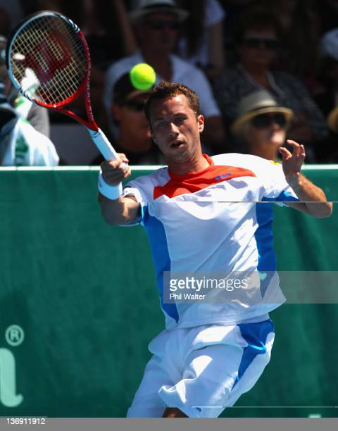 Philipp Kohlschreiber of Germany plays a shot in his singles match against Olivier Rochus of Belguim during day five of the 2012 Heineken Open at the...