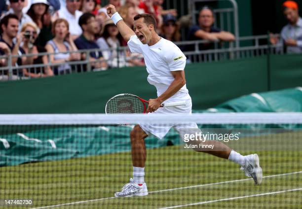 Philipp Kohlschreiber of Germany reacts after winning his Gentlemen's Singles third round match against Lukas Rosol of the Czech Republic on day six...