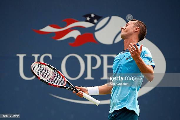 Philipp Kohlschreiber of Germany reacts against Alexander Zverev of Germany during their Men's Singles First Round match on Day Two of the 2015 US...