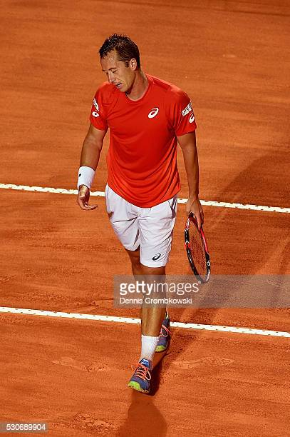 Philipp Kohlschreiber of Germany reacts during his match against Rafael Nadal of Spain on Day Four of The Internazionali BNL d'Italia on May 11, 2016...