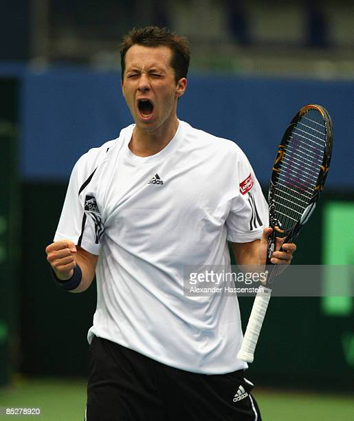 Philipp Kohlschreiber of Germany reacts during his match against Juergen Melzer of Austria at day one of the Davis Cup 2009 World Group first round...