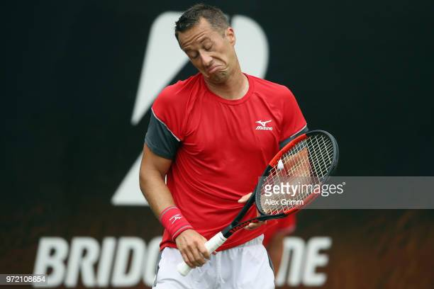 Philipp Kohlschreiber of Germany reacts during his match against Denis Istomin of Uzbekistan during day 2 of the Mercedes Cup at Tennisclub...