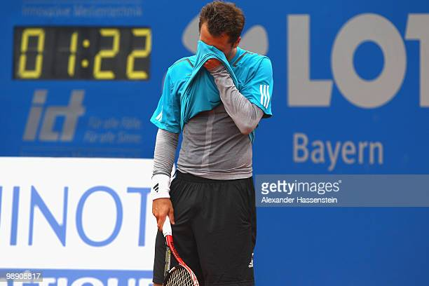 Philipp Kohlschreiber of Germany reacts during his match against Marcos Baghdatis of Cyprius on day 6 of the BMW Open at the Iphitos tennis club on...