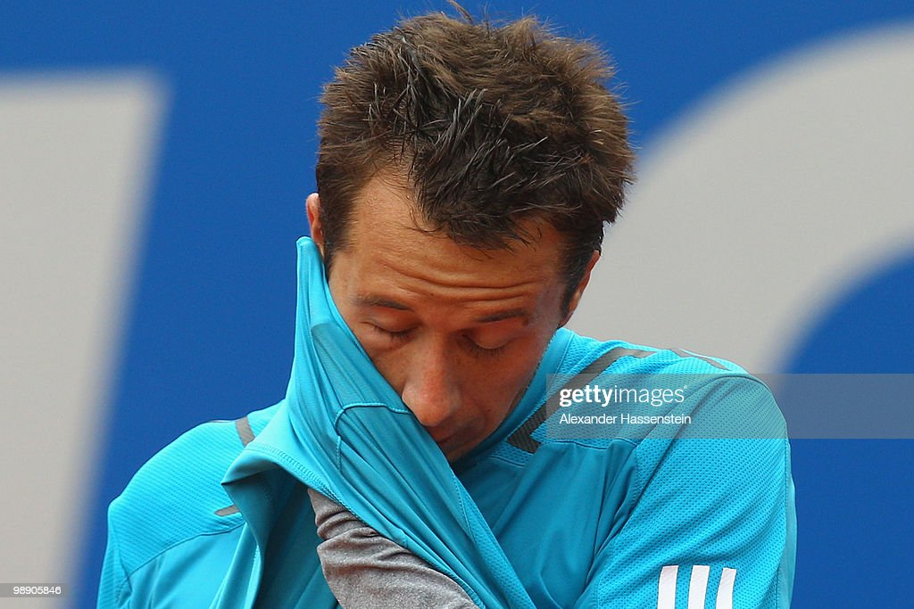 Philipp Kohlschreiber of Germany reacts during his match against Marcos Baghdatis of Cyprius on day 6 of the BMW Open at the Iphitos tennis club on May 7, 2010 in Munich, Germany.