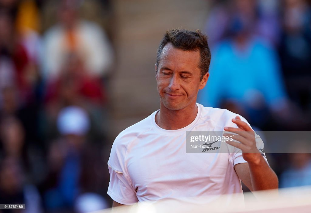 Philipp Kohlschreiber of Germany reacts in his match against David Ferrer of Spain during day three of the Davis Cup World Group Quarter Finals match between Spain and Germany at Plaza de Toros de Valencia on April 8, 2018 in Valencia, Spain