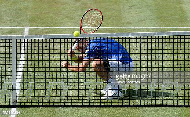 Philipp Kohlschreiber of Germany returns against Radek Stepanek of Czech Republic during the quarterfinals on day 7 of Mercedes Cup 2016 on June 10...