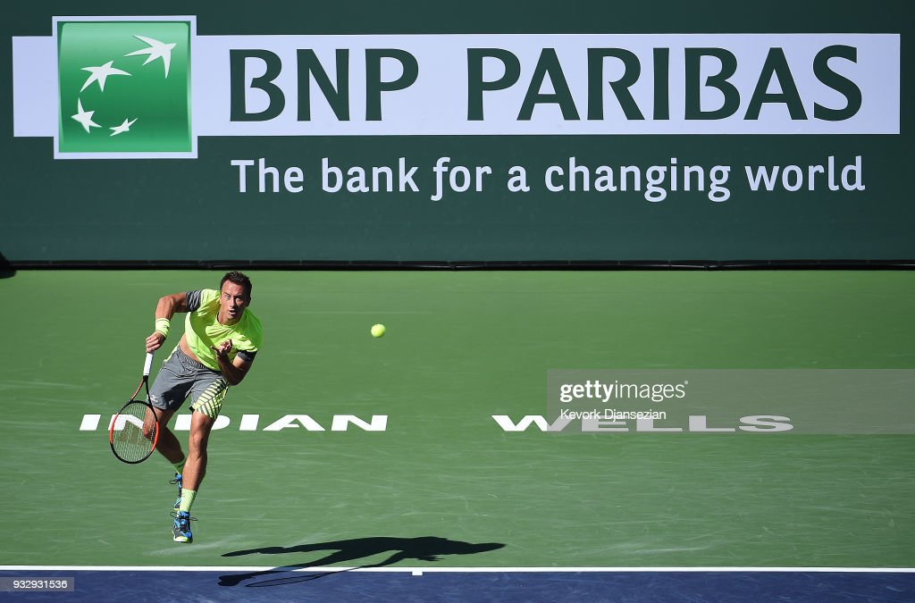 Philipp Kohlschreiber of Germany serves against Juan Martin Del Porto of Argentina during Day 12 of BNP Paribas Open on March 16, 2018 in Indian Wells, California.