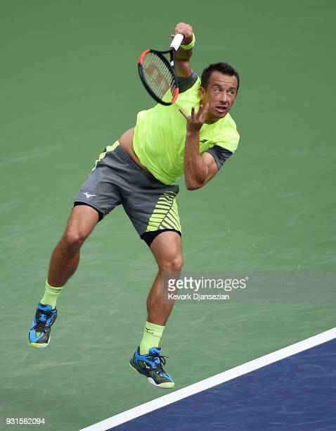 Philipp Kohlschreiber of Germany serves against Marin Cilic of Croatia during Day 9 of BNP Paribas Open on March 13 2018 in Indian Wells California