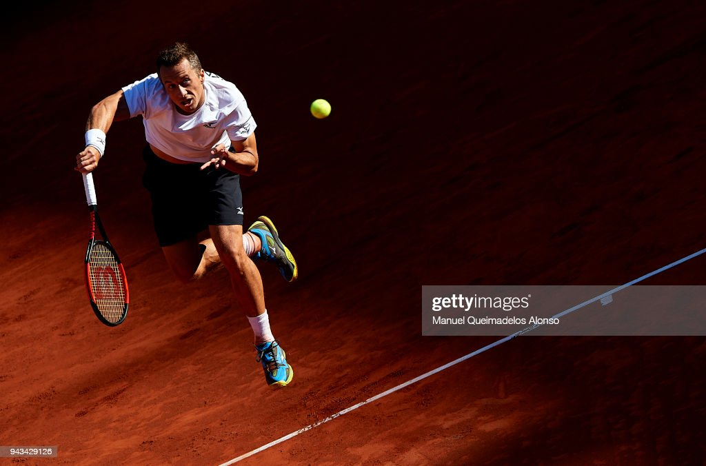 Philipp Kohlschreiber of Germany serves during his match against David Ferrer of Spain during day three of the Davis Cup World Group Quarter Final match between Spain and Germany at Plaza de Toros de Valencia on April 8, 2018 in Valencia, Spain.