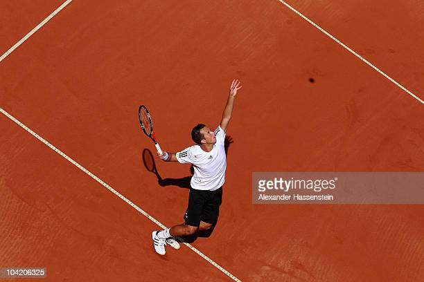 Philipp Kohlschreiber of Germany serves during his match against Rik de Voest of South Africa at the Davis Cup World Group Play-Off tie between...