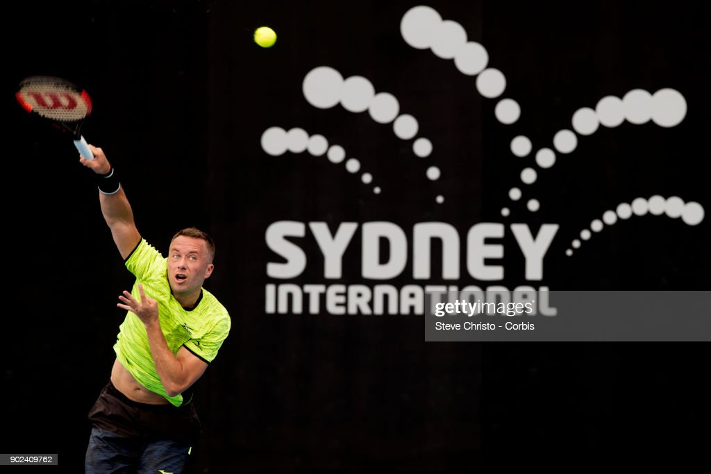 Philipp Kohlschreiber of Germany serves in his first round match against Daniil Medvedev of Russia during day one of the 2018 Sydney International at Sydney Olympic Park Tennis Centre on January 8, 2018 in Sydney, Australia.