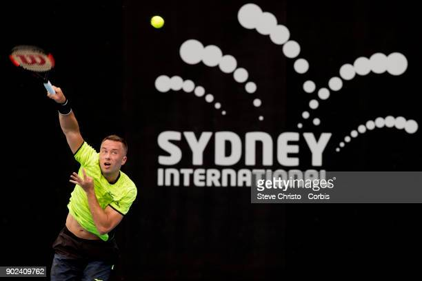 Philipp Kohlschreiber of Germany serves in his first round match against Daniil Medvedev of Russia during day one of the 2018 Sydney International at...
