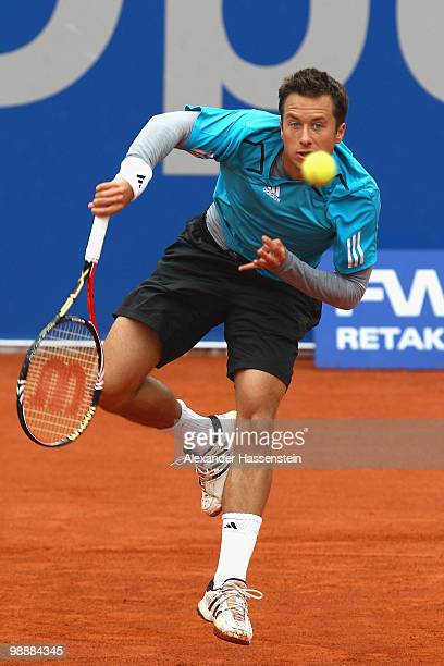 Philipp Kohlschreiber of Germany serves the ball during his match against Santiago Ventura of Spain at day 5 of the BMW Open at the Iphitos tennis...