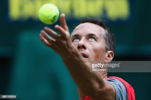 Philipp Kohlschreiber of Germany serves the ball to Matthew Ebden of Australia during their round of 16 match on day 4 of the Gerry Weber Open at...