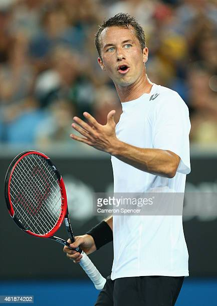 Philipp Kohlschreiber of Germany shows his emotion in his second round match against Bernard Tomic of Australia during day three of the 2015...