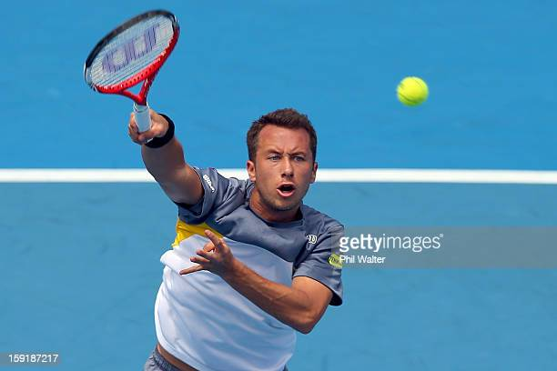 Philipp Kohlschreiber of Germany volleys in his quarterfinal match against Xavier Malisse of Belgium during day four of the Heineken Open at the ASB...