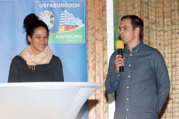 DEU: Philipp Lahm and Celia Šašić Visit Elite Football School In Langenhorn