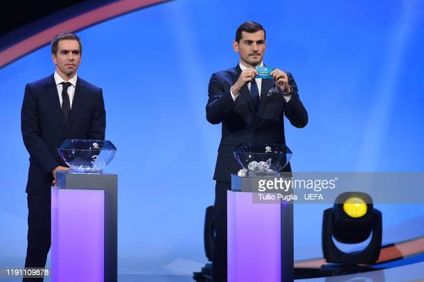 Philipp Lahm and Iker Casillas attends the UEFA Euro 2020 Final Draw Ceremony on November 30 2019 in Bucharest Romania