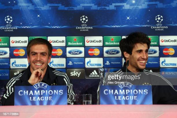 Philipp Lahm and Javier Martinez smile during a Bayern Muenchen press conference ahead of their UEFA Champions League Semi Final first leg match...