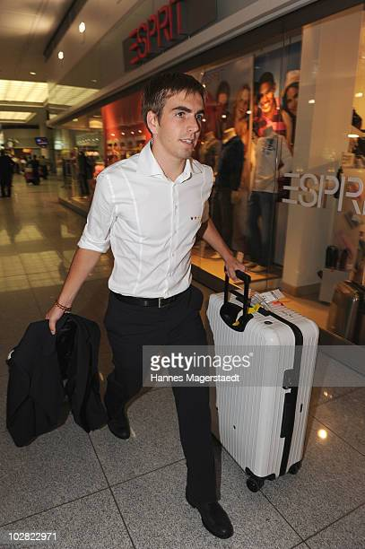Philipp Lahm arrives the airport after the World Cup 2010 in Southafrica on July 12 2010 in MUNICH Germany