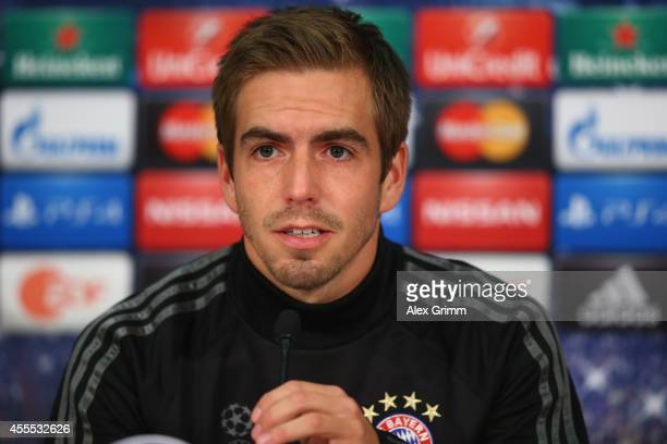 Philipp Lahm attends the FC Bayern Muenchen press conference ahead of their UEFA Champions League Group E match against Manchester City at Allianz...