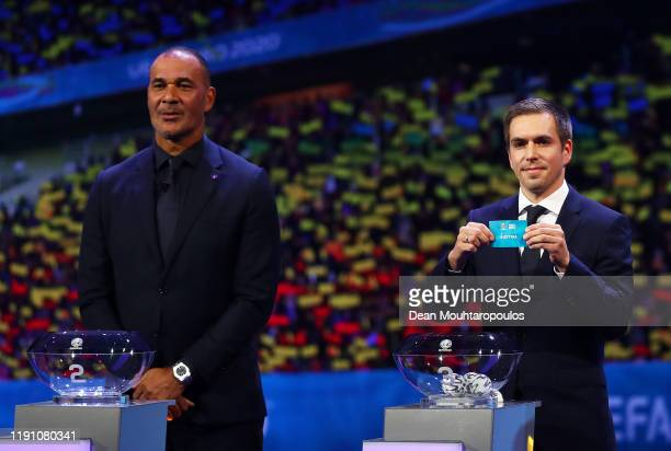 Philipp Lahm Former Germany player draws Austria from the pot during the UEFA Euro 2020 Final Draw Ceremony at the Romexpo on November 30 2019 in...