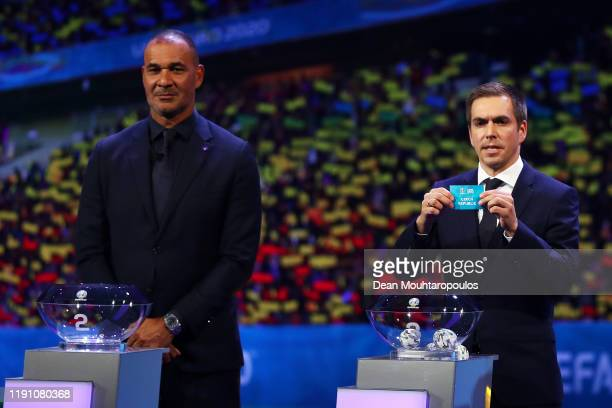 Philipp Lahm Former Germany player draws Czech Republic from the pot during the UEFA Euro 2020 Final Draw Ceremony at the Romexpo on November 30 2019...