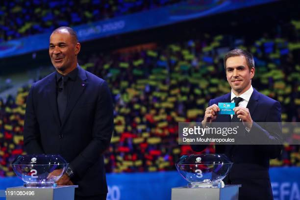 Philipp Lahm Former Germany player draws Portugal from the pot during the UEFA Euro 2020 Final Draw Ceremony at the Romexpo on November 30 2019 in...
