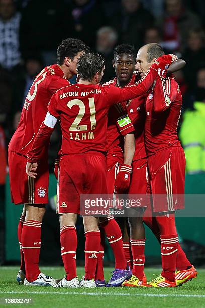Philipp Lahm Franck Ribery Mario Gomez David Alaba and Arjen Robben of Bayern celebrate the second goal during the DFB Cup round of sixteen match...