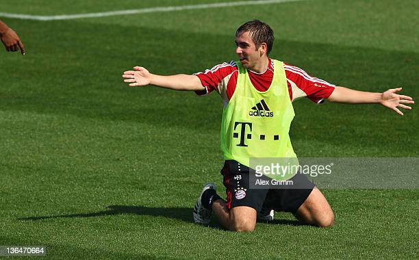 Philipp Lahm gestures during a training session of Bayern Muenchen at the ASPIRE Academy for Sports Excellence on January 6 2012 in Doha Qatar