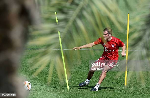 Philipp Lahm in action during a training session at day three of the Bayern Muenchen training camp at Aspire Academy on January 8 2016 in Doha Qatar