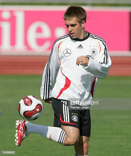 Philipp Lahm in action during the German National Team training session at the AdidasStadium on May 30 2007 in Herzogenaurach Germany
