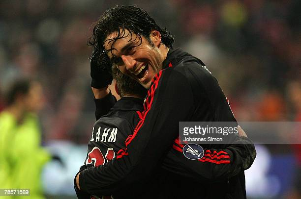 Philipp Lahm of Bayern celebrates with teammate Luca Toni after scoring 60 during the UEFA Cup Group F match between Bayern Munich and Aris Saloniki...