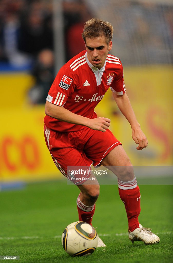 Philipp Lahm of Bayern in action during the Bundesliga match between FC Schalke 04 and FC Bayern Muenchen at the Veltins Arena on April 3, 2010 in Gelsenkirchen, Germany.