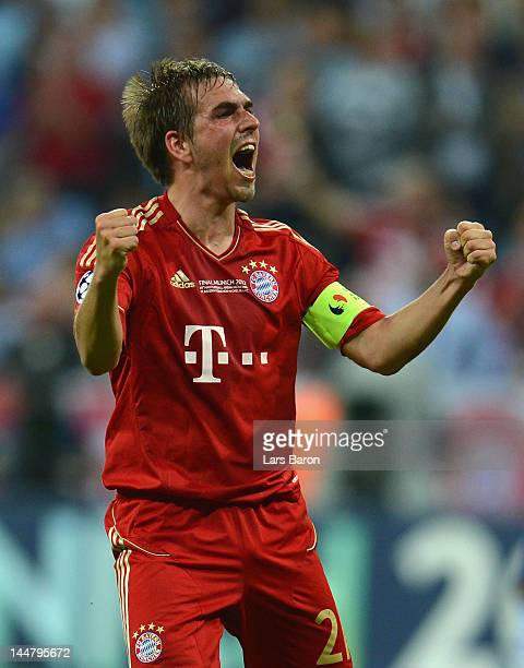 Philipp Lahm of Bayern Muenchen celebrates after Thomas Mueller scored the opening goal during UEFA Champions League Final between FC Bayern Muenchen...