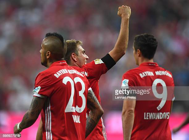 Philipp Lahm of Bayern Muenchen celebrates his team's fourth goal during the Bundesliga match between Bayern Muenchen and Werder Bremen at Allianz...