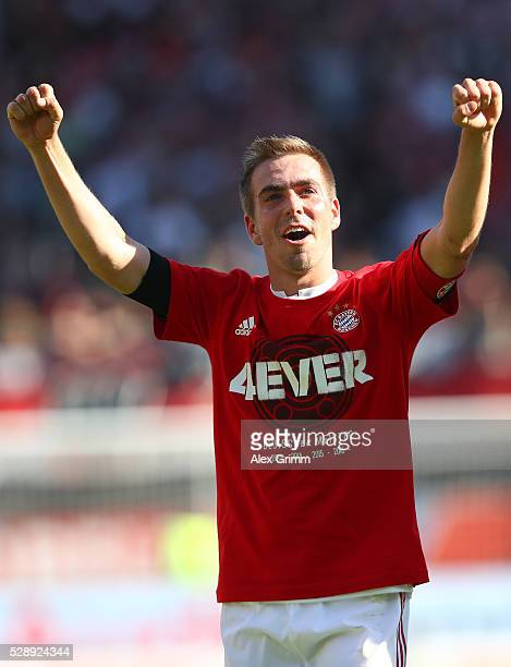 Philipp Lahm of Bayern Muenchen celebrates the Bundesliga champions after beating Ingolstadt 21 in the Bundesliga match between FC Ingolstadt and FC...