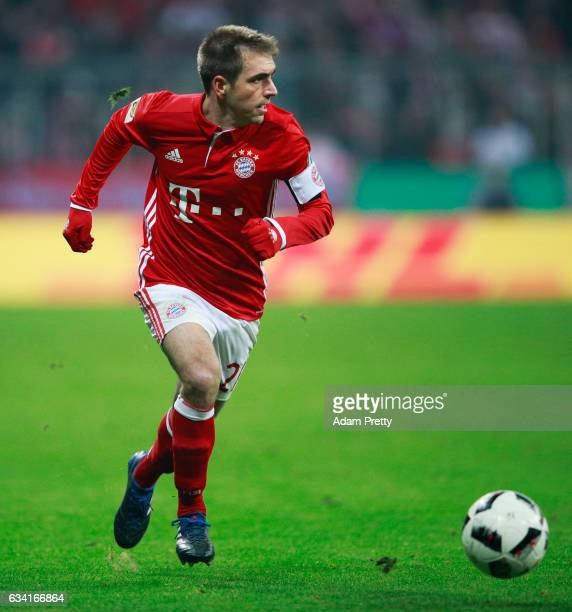 Philipp Lahm of Bayern Muenchen in action during the DFB Cup Round Of 16 match between Bayern Muenchen and VfL Wolfsburg at Allianz Arena on February...