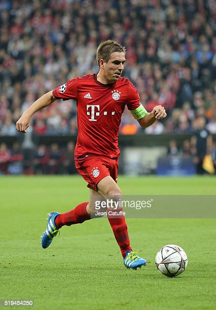 Philipp Lahm of Bayern Muenchen in action during the UEFA Champions League quarter final first leg match between FC Bayern Muenchen and SL Benfica...