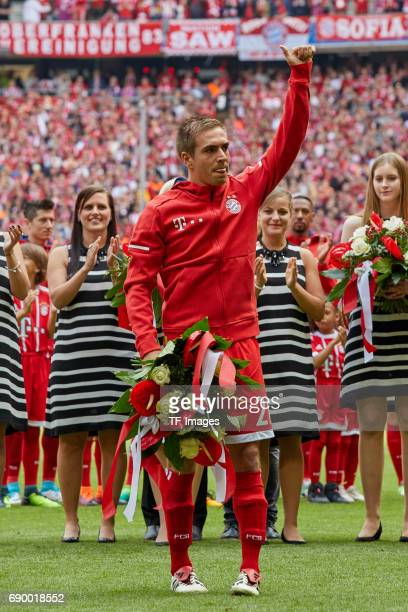 Philipp Lahm of Bayern Muenchen looks on during the Bundesliga match between Bayern Muenchen and SC Freiburg at Allianz Arena on May 20 2017 in...