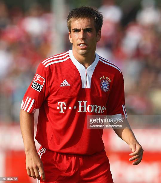 Philipp Lahm of Bayern Muenchen looks on during the pre season friendly match between Stuttgarter Kickers and FC Bayern Muenchen at the GAZi stadium...