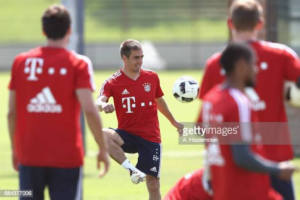 Philipp Lahm of FC Bayern Muenchen plays with the ball during a training session at Saebener Strasse training ground on May 18 2017 in Munich Germany