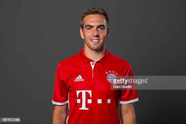 Philipp Lahm of FC Bayern Munich pose during the team presentation on August 10 2016 in Munich Germany