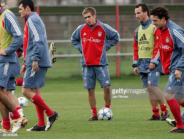 Philipp Lahm of FC Bayern Munich stands on the field during the training session of Bayern Munich on November 16 2005 in Munich Germany Lahm took...