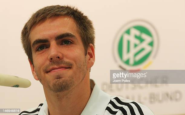 Philipp Lahm of Germany attends a press conference at the Germany press centre on June 24 2012 in Gdansk Poland