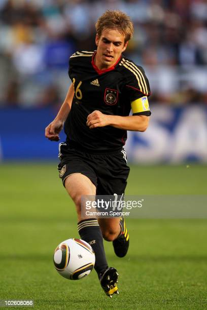 Philipp Lahm of Germany in action during the 2010 FIFA World Cup South Africa Quarter Final match between Argentina and Germany at Green Point...