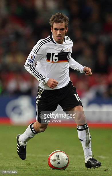 Philipp Lahm of Germany in action during the FIFA 2010 World Cup Qualifier match between Wales and Germany at the Millennium Stadium on April 1 2009...