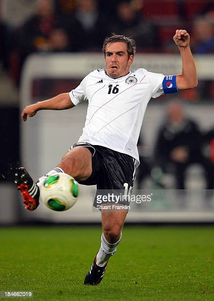 Philipp Lahm of Germany in action during the FIFA world Cup 2014 qualification match between Germany and Republic of Ireland at the Rheinenergy...