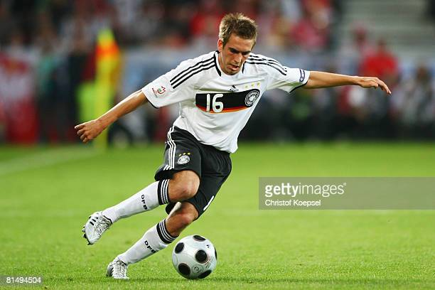 Philipp Lahm of Germany in action during the UEFA EURO 2008 Group B match between Germany and Poland at Worthersee Stadion on June 8, 2008 in...